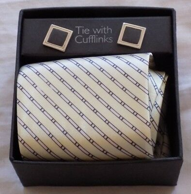 Gold Stripped Full Length Tie & Pair Cuff Links Set Mens Clothes Accessories