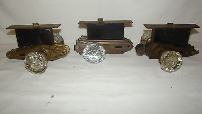 3 Sets Vintage Antique Glass Door Knobs Plates Mortise Lock Yale Russwin Earle