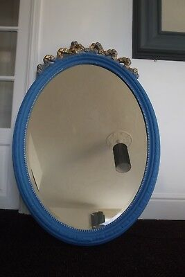 Victorian Mirror Solid Wood Huge Oval Piece Hand Crafted Edge Repainted Stunning
