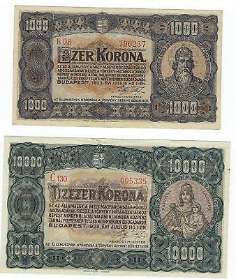 Hungary P-75a,77c 1000,10000 Korona 1923 XF-AU 2 notes