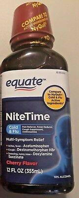 2 X Equate Nitetime Severe Cold Flu Berry Flavor 12