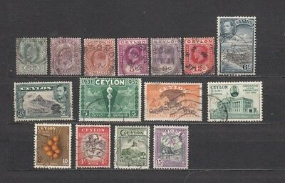 CEYLON, 15 VF EARLY STAMPS, EDWARDVll--GEORGEVl, OTHERS. FRESH, GREAT CDS.