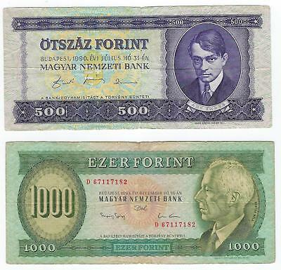 Hungary P-175,176b 500,1000 Forint 1990,93 circulated 2 notes