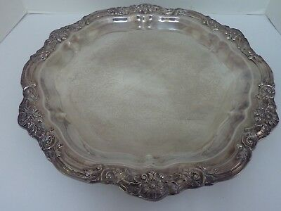"""Vintage FB Rogers 16 1/2"""" Footed Ornate Serving Tray Platter Silver Plate"""