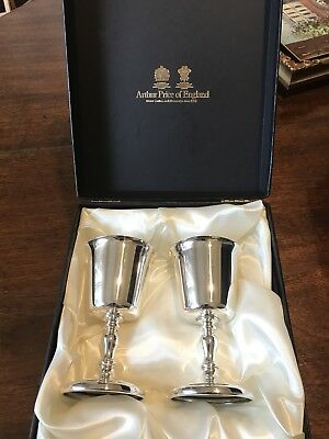 Vintage Boxed Pair Of Silver Plated Arthur Price Of England Goblets