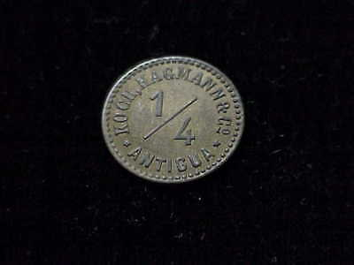Antigua Caribbean Island Kock, Hageman & Co, early 1/4 brass merchant token