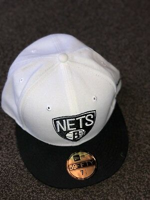 New Era 59Fifty NBA Brooklyn Nets Cap White & Black Size 7 1/2
