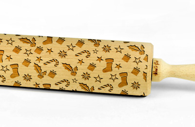 Engraved CHRISTMAS PATTERN rolling pin wooden laser cut unique design