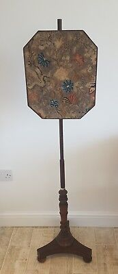 Antique William IV, Approx 1820-1835 Pole Fire Screen