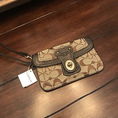 Authentic Coach Signature Logo Wristlet Leather/Canvas BRAND NEW!!