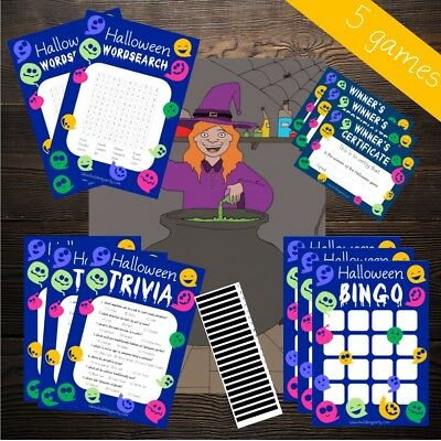 Halloween Games - Activity Packs - NEW 2019 - Kids - Quiz, Bingo, Charades, Pin