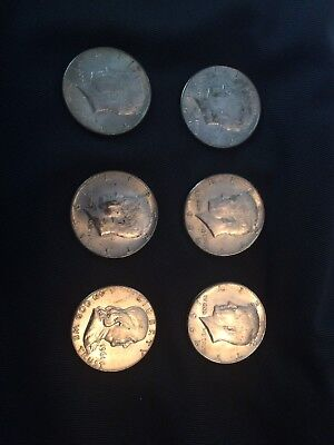 Liberty Kennedy And Franklin Half Dollars (6) 1961 1964 1965 Silver