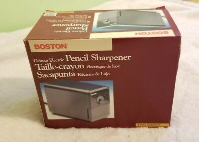 Vintage Boston Electric Pencil Sharpener Model 1818 Black and Red NEW IN BOX NOS