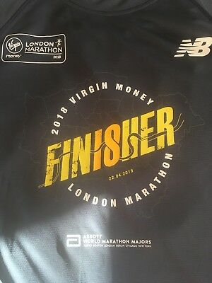 London Marathon New Balance 2018 Finisher's T-Shirt LARGE ONLY £7.99