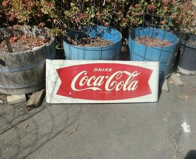 "Vintage 1965 Coca Cola Fishtail Soda Pop Gas Station 44"" Metal Sled Sign"