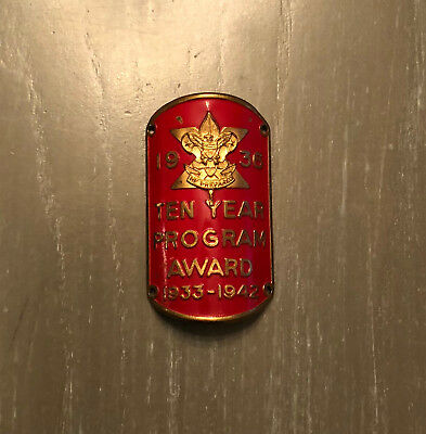 Vintage 1936 Boy Scout Ten Year Program Award - BSA Metal Tag Award 1933 - 1942