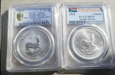 2017 SP69 and 2018 MS70 Silver 2 coin Krugerand set start a collection .99  N/R