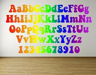 Alphabet Letters Numbers Rainbow Nursery Phonics Baby Child Wall Art Sticker