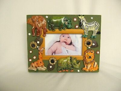 Safari Wild Animals Baby Children Photo Frame Zebra Elephant Rhino Lion Hippo