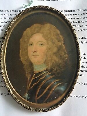 Miniature Painting Of General John richmond Webb B 1667 Governer Of isle Of Wigh