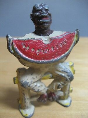 "Antique 2.75"" Black Americana Man On Fence With Watermelon Cast Iron"