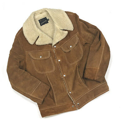964cc08f2a3 VTG 1970s JCPenney Light Brown Suede Leather Jacket Pile Lining Men s 38