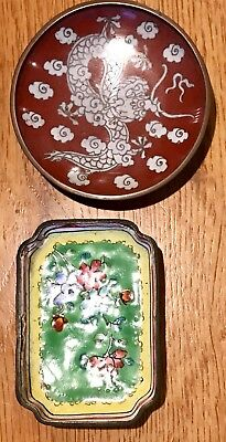 2 Mini Vintage Floral/Dragon Chinese Enamel on Copper Bowl/Dish Made in China