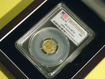 2016-W Gold Mercury Dime PCGS SP70 100th Anniversary US Flag First Strike Label