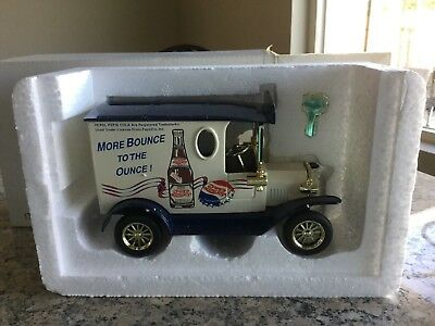 "Pepsi Cola Diecast Coin Bank 'more Bounce To The Ounce"" -Mint Condition"