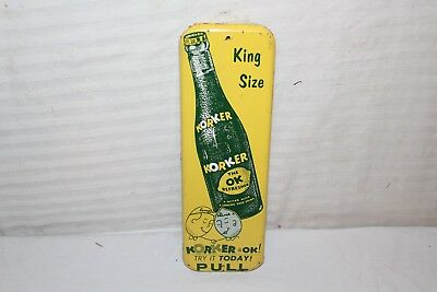 "Vintage 1950's Korker Soda Pop Gas Station 12"" Metal Door Push Sign"