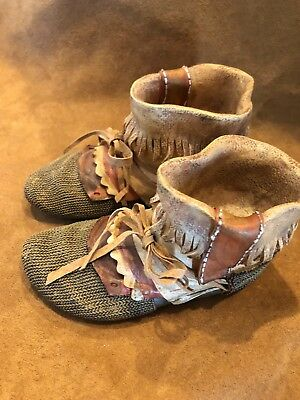 """Native American Replica Moccasins Resin And Leather  Baby Size 4"""" Long X 3"""" High"""