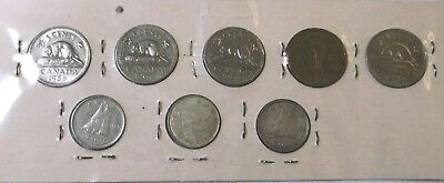 1942,1943,1959,1964,1968,1952,1964,1969 8 Coin Lot Canada