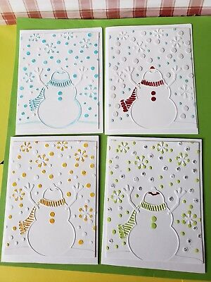 Handmade Greeting Card 4 Snowman Christmas Cards 8 00 Picclick