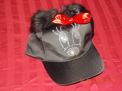 Disney Parks Black Minnie Mouse Red Bow Ears Baseball Cap Size Youth Fabowlous