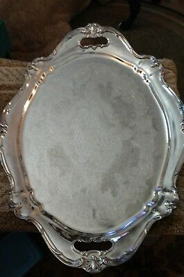 "Gorham Chantilly Silverplate 27"" x 19"" 2 Handled Waiter Tray YC1397"
