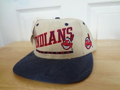 best service 725ad 63e12 Vintage Cleveland Indians Snapback Hat 80s 90s AJD Eds West NEW NWT MLB  Wahoo