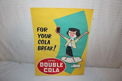 "Vintage 1950's Double Cola Soda Pop Gas Station 24"" Sign"