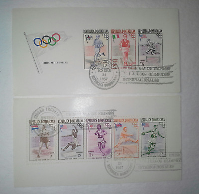 DOMINICAN REPUBLIC 1957 Melbourne Olympic Souvenir Sheets Perf. & Imperf. MNH