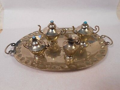 Vintage Doll or Dollhouse Miniature Mexico Hecho Alpaca Silver Tea Set