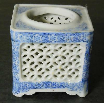 Old Chinese transfer printed porcelain Brush Pot  Reticulated sides  Round hole