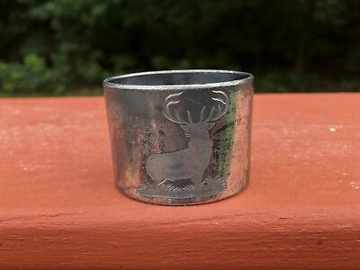 Antique Silverplate Napkin Ring Etched Buck & Grapeleaf Design