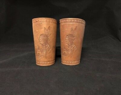Vintage Leather Cowboy Indian Head Tooled Wrist Cuff Rodeo Roping Guards