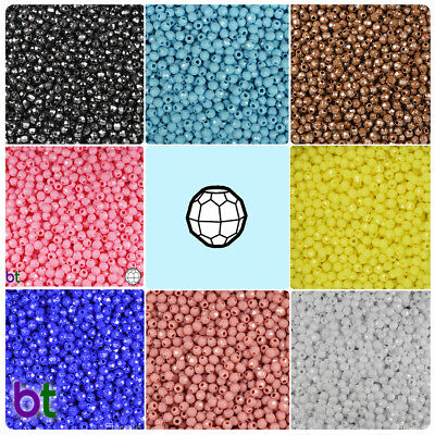 BeadTin Opaque 4mm Faceted Round Craft Beads (1250pcs) - Color choice