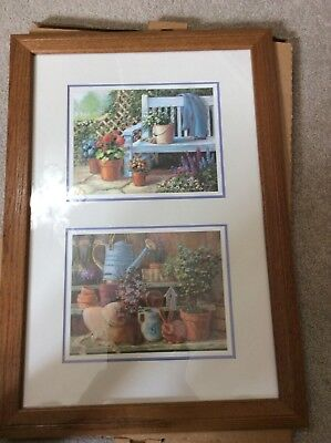 Home Interior / Homco Picture Ole Bench With Flowers Watering Can,rabbit