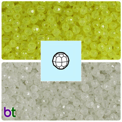 BeadTin Glow 4mm Faceted Round Craft Beads (1250pcs) - Color choice