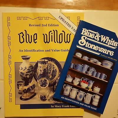 Lot Of 2 Blue & White Willow Stoneware Books Price Value Guide Reference Pottery