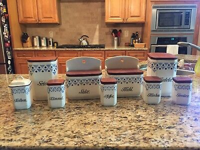 Antique German Porcelain kitchen canister set - Rare and in good condition