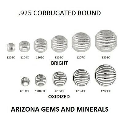 Sterling Silver.925 Corrugated Round Beads Bright & Ox. Choose Size & QTY. 3-8mm