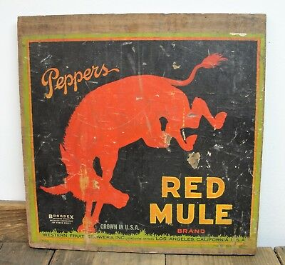 Antique 1926 Red Mule Peppers Vegetable Crate End Wooden Sign LA California