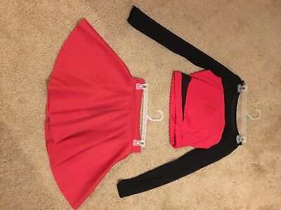 Crop Top And Skirt Red